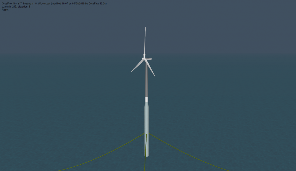 The OC3 Hywind system modelled in OrcaFlex 10.3