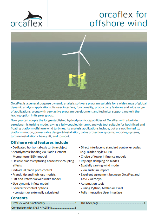 OrcaFlex for offshore wind